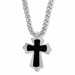1-1/2 Inch Steel Budded Ends with Black Enameled Inner Cross on Cross Necklace