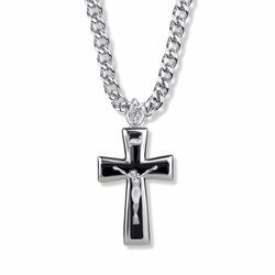 1-1/2 Inch Sterling Silver Black Enameled Crucifix Necklace