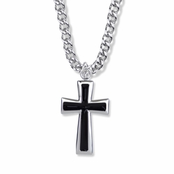 1-1/2 Inch Sterling Silver Black Enameled Flared Ends Cross Necklace