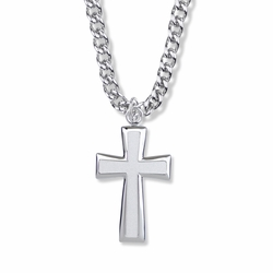 1-1/2 Inch Sterling Silver Flared Ends Cross Necklace