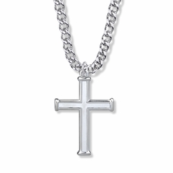 1-1/2 Inch Sterling Silver Outlined Inner Cross Necklace