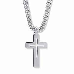 1-1/2 Inch Sterling Silver Pierced Nail Inner Cross Necklace