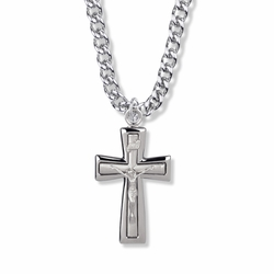 1-1/2 Inch Sterling Silver Polished Edges Crucifix Necklace