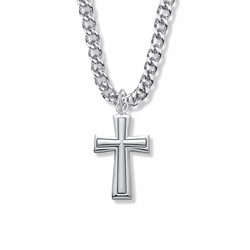 1-1/2 Inch Sterling Silver Raised Inner Cross Necklace