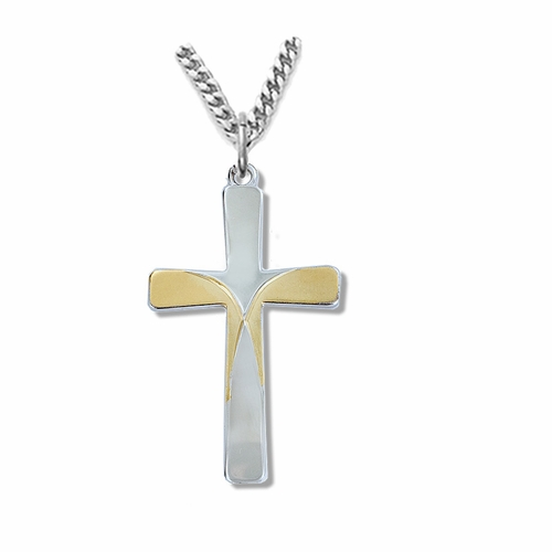 1-1/2 Inch Sterling Silver Two-Tone Engraved Cross Necklace
