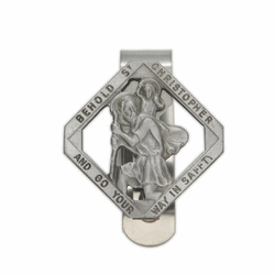 1-1/2 x 1-1/2 Inch Diamond Pewter and Pierced St. Christopher, Patron of Travelers Visor Clip