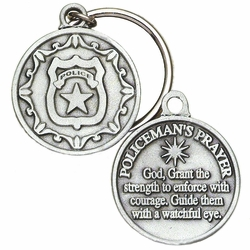 1-1/2 x 1-1/4 Inch Round Pewter Police Prayer Key Chain