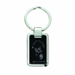 1-1/2 x 1 Inch Silver Plated and Black Matte Guardian Angel Key Chain