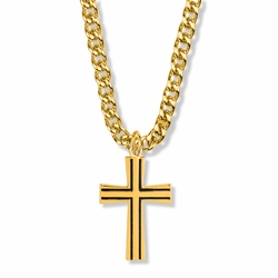 1-1/4 Inch 14K Gold Over Sterling Silver Antique with Flared Ends Cross Necklace