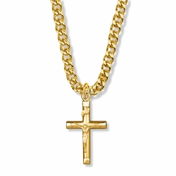 1-1/4 Inch 14K Gold Over Sterling Silver Bright Ends Crucifix Necklace