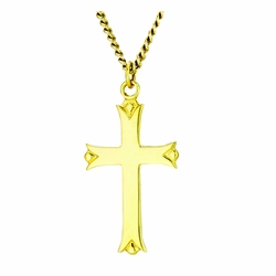 1-1/4 Inch 14K Gold Over Sterling Silver Budded Ends Cross Necklace