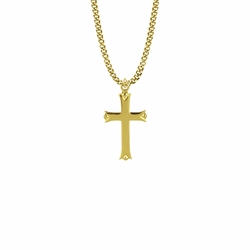 1-1/4 Inch 14KT Gold Plated Over Sterling Silver Budded Ends Cross Necklace