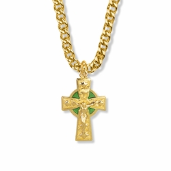 1-1/4 Inch 14K Gold Over Sterling Silver Celtic Green Halo Crucifix Necklace