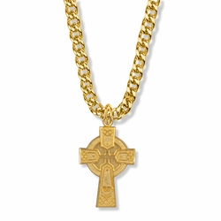 1-1/4 Inch 14K Gold Over Sterling Silver Large Celtic Cross