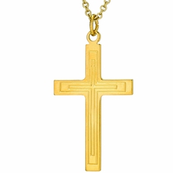 1-1/4 Inch 14K Gold Over Sterling Silver Lined Cross Necklace