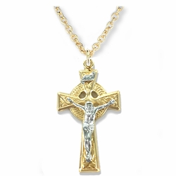 1-1/4 Inch 14K Gold Plated Over Sterling Silver Two-Tone Celtic Crucifix Necklace