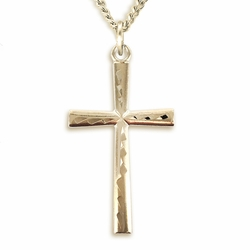 1-1/4 Inch 14K Gold Plated Over Sterling Silver Flared Engraved Cross Necklace