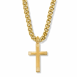 1-1/4 Inch 14K Gold Over Sterling Silver Lined Inner Cross Necklace