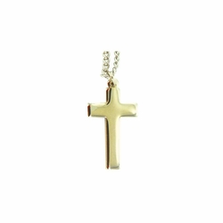 1-1/4 Inch Gold Plated Cross Necklace