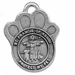 1-1/4 Inch Pewter Paw and St. Francis Pet Medal