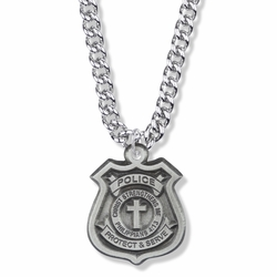 1-1/4 Inch Pewter Police Shield Medal with Cross and Philippians 4:13