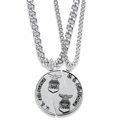 1-1/4 Inch Round Sterling Silver Air Force Mizpah Medal with Genesis 31:48-50 Verse on Back