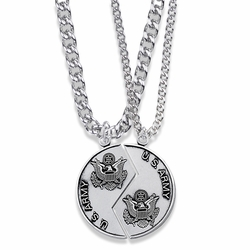 1-1/4 Inch Round Sterling Silver Army Mizpah Medal with Genesis 31:48-50 Verse on Back