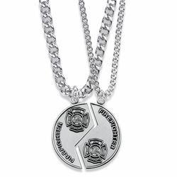 1-1/4 Inch Round Sterling Silver Fire Fighter Mizpah Medal with Genesis 31:48-50 Verse on Back