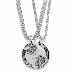 1-1/4 Inch Round Sterling Silver Marines Mizpah Medal with Genesis 31:48-50 Verse on Back