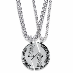 1-1/4 Inch Round Sterling Silver National Guard Mizpah Medal with Genesis 31:48-50 Verse on Back