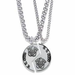 1-1/4 Inch Round Sterling Silver Navy Mizpah Medal with Genesis 31:48-50 Verse on Back