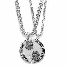 1-1/4 Inch Round Sterling Silver Police Officer Mizpah Medal with Genesis 31:48-50 Verse on Back