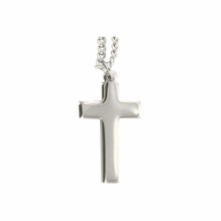 1-1/4 Inch Silver Plated Cross Necklace