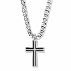 1-1/4 Inch Sterling Silver Antique with Flared Ends Cross Necklace