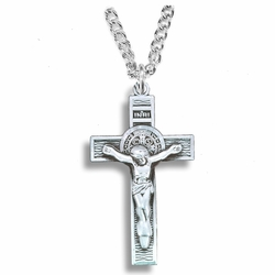 1-1/4 Inch Sterling Silver Antiqued St. Benedict Crucifix Necklace