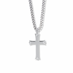 1-1/4 Inch Sterling Silver Budded Ends Cross Necklace