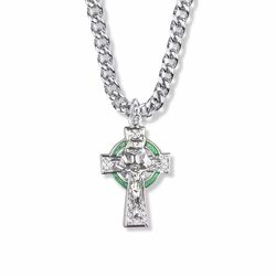 1-1/4 Inch Sterling Silver Celtic Green Halo Crucifix Necklace