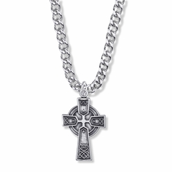 1-1/4 Inch Sterling Silver Diamond Drag Engraved Large Celtic Cross