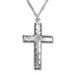 1-1/4 Inch Sterling Silver Engraved Border Cross Necklace