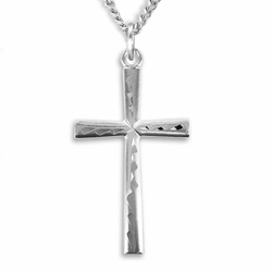 1-1/4 Inch Sterling Silver Flared Engraved Cross Necklace