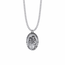 1-1/4 Inch Sterling Silver Large Oval St. Anthony Medal, Patron Saint of Lost Articles