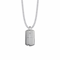 1-1/4 Inch Sterling Silver Nail Cross Dog Tag Necklace