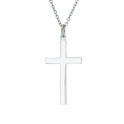 1-1/4 Inch Sterling Silver Plain Cross Necklace