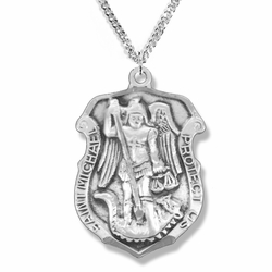 1-1/4 Inch Sterling Silver St. Michael Badge Shield Medal, Patron of Police