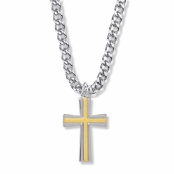 1-1/4 Inch Two-Tone Sterling Silver Flared Ends Cross Necklace