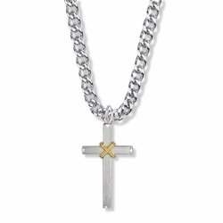 1-1/4 Inch Two-Tone Sterling Silver Rope Cross Necklace