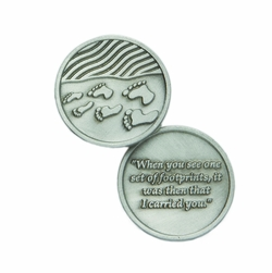 1-1/4 x 1-1/4 Inch Round Pewter Footprints Inspirational Pocket Token
