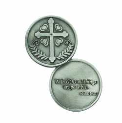 1-1/4 x 1-1/4 Inch Round Pewter Cross Inspirational Pocket Token