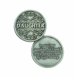 1-1/4 x 1-1/4 Inch Round Pewter Daughter Inspirational Pocket Token