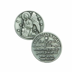1-1/4 x 1-1/4 Inch Round Pewter Guardian Angel Inspirational Pocket Token